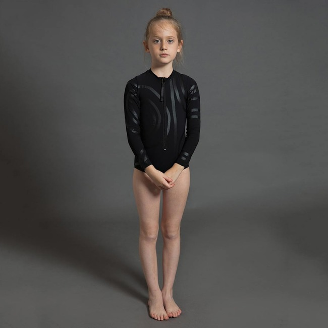 Nununu CIRCLE LONG SLEEVED SWIMSUIT S [BLACK]