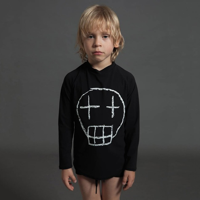 Nununu SKETCH SKULL LONG SLEEVED RASHGUARD S [BLACK]