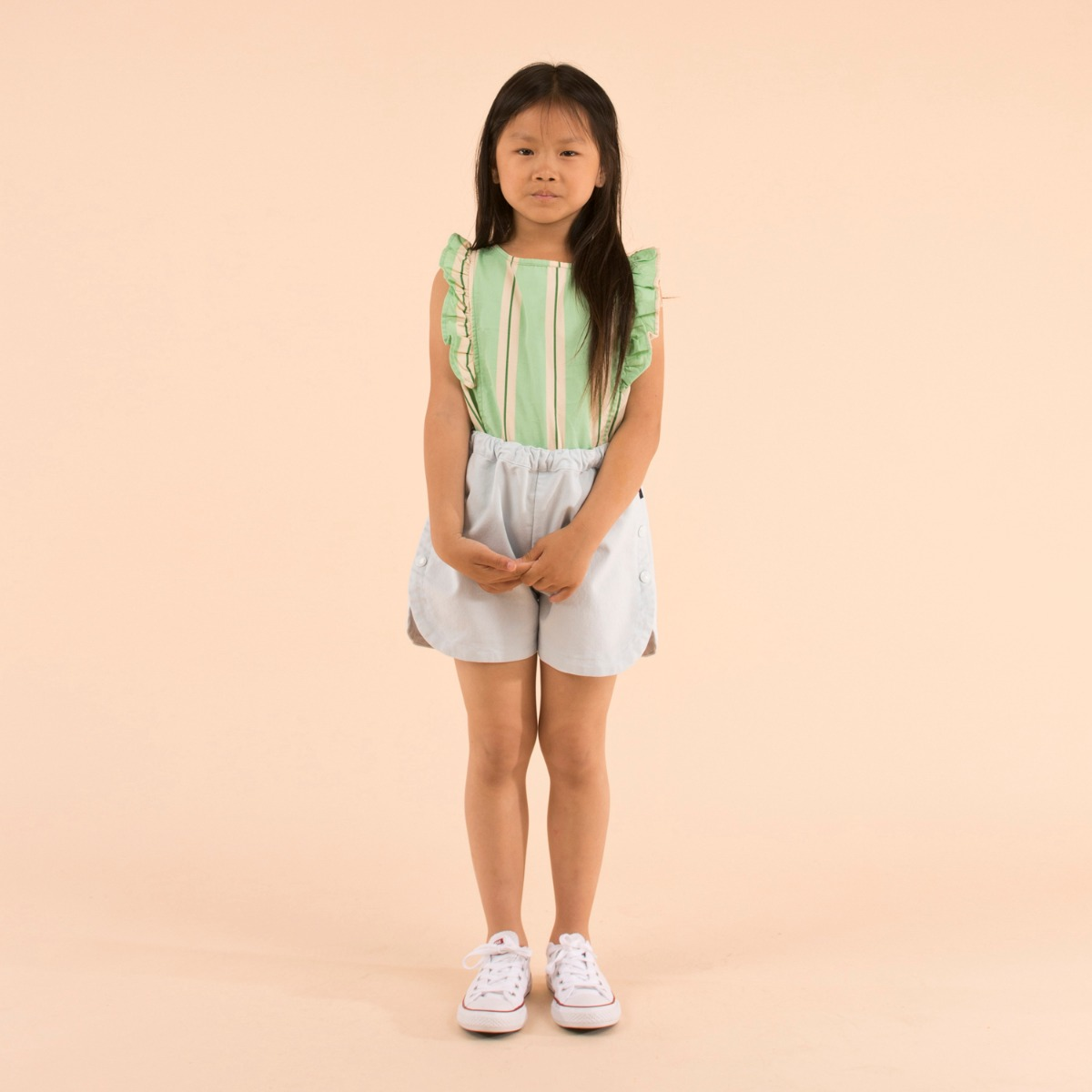 'RETRO STRIPES' RUFFLES BLOUSE  [EMERALD/CREAM]]