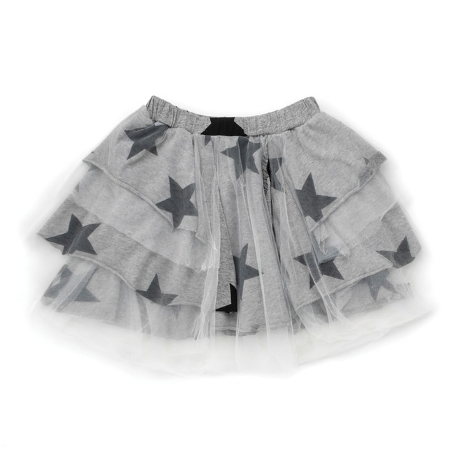 LAYERED TULLE STAR SKIRT L [Heather Grey]