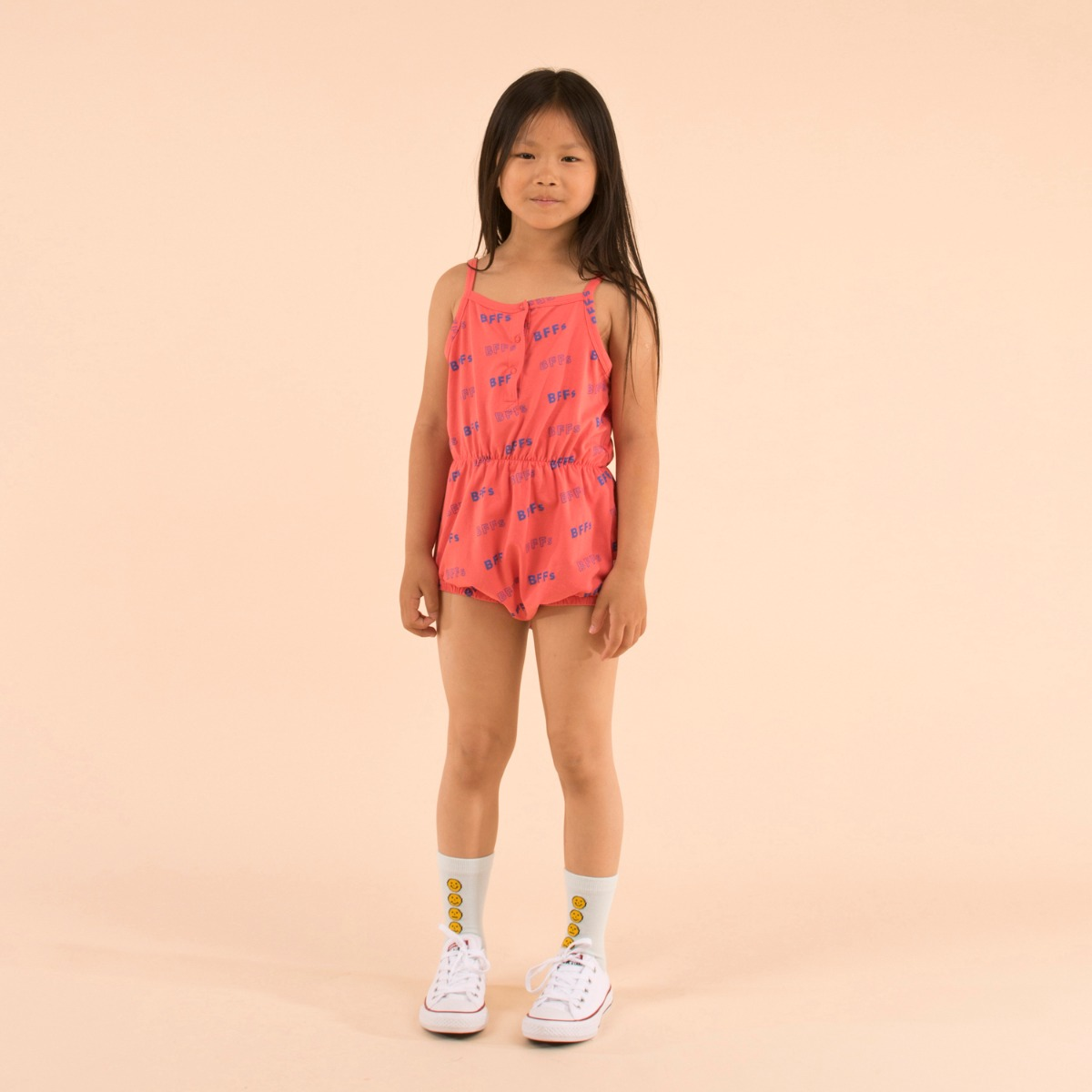 'BFFs' ROMPER  [LIGHT RED/ULTRAMARINE]]