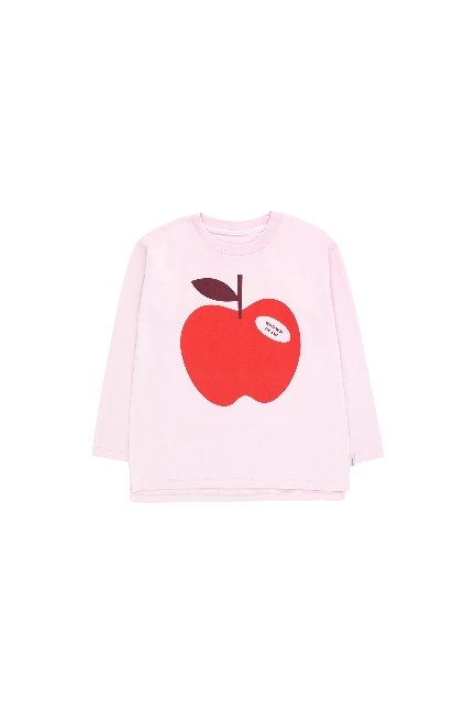 APPLE LS TEE (pale pink/burgundy)