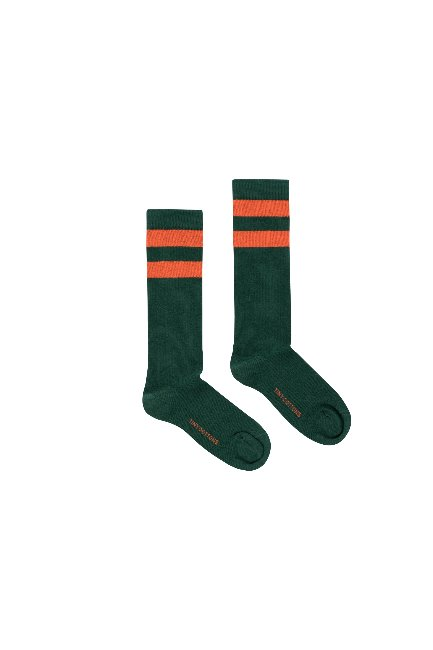 STRIPES HIGH SOCKS(bottle green/red )