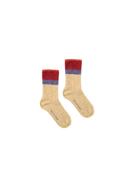 STRIPES MEDIUM RIB SOCKS(sand/burgundy)