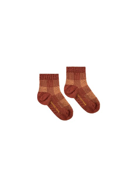 CHECK QUARTER SOCKS(dark brown/brown)