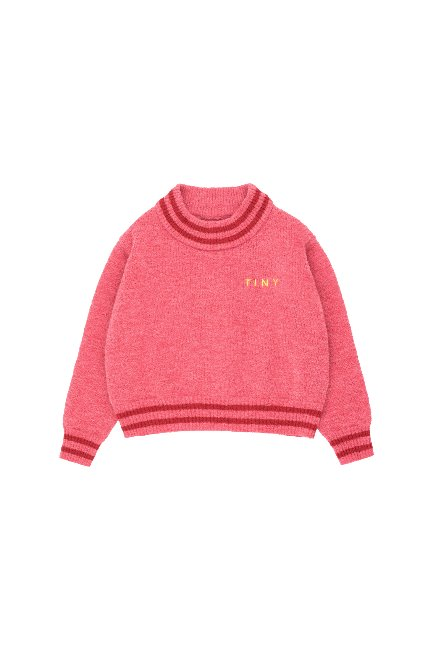 LINES CROP SWEATER(bubble gum/burgundy)