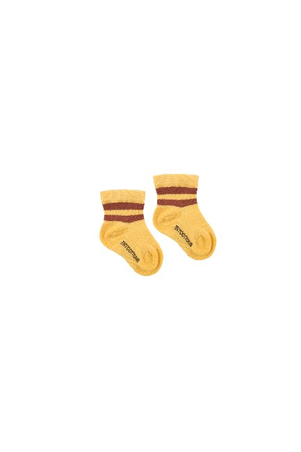 STRIPES QUARTER RIB SOCKS(yellow/dark brown)