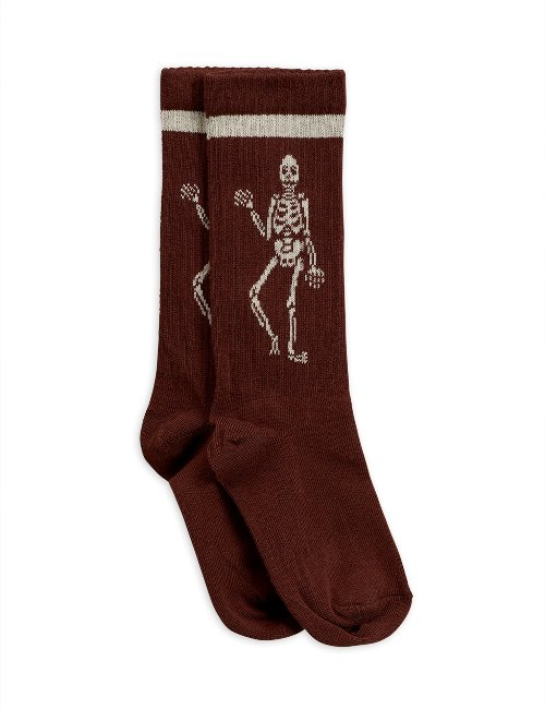 Skeleton knee sock (brown)