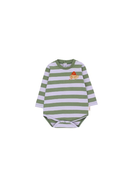 STRIPES LS BODY(green wood/light lilac)