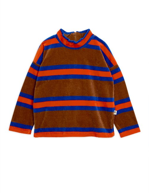 Velour stripe sweatshirt/brown