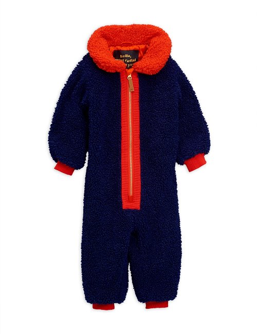 Faux fur baby overall /Blue