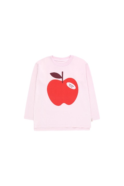 APPLE LS TEE(pale pink/burgundy)