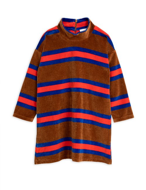 Velour stripe ls dress/brown