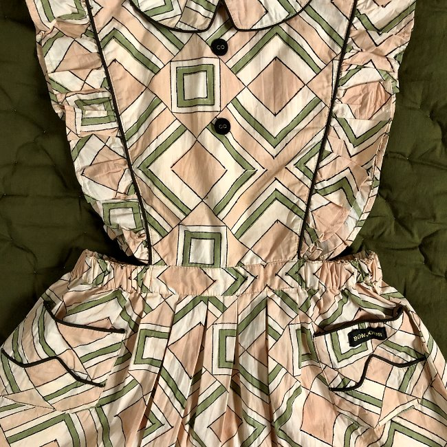 Apron dress with piping(Tile print poplin)