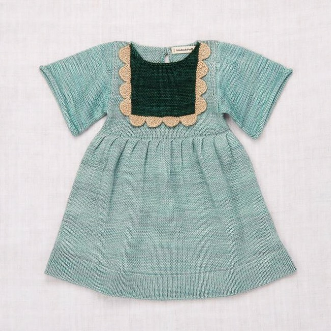 Scallop Bib Dress /Sage