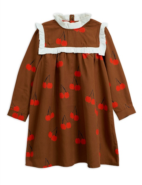 Cherry woven frill dress /Brown