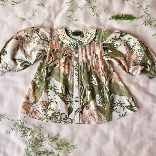 Madeleine blouse(Orchid print cotton voile)