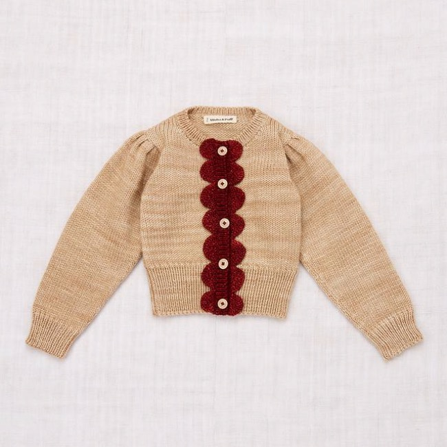 Scallop Cardigan /Alabaster/Brick