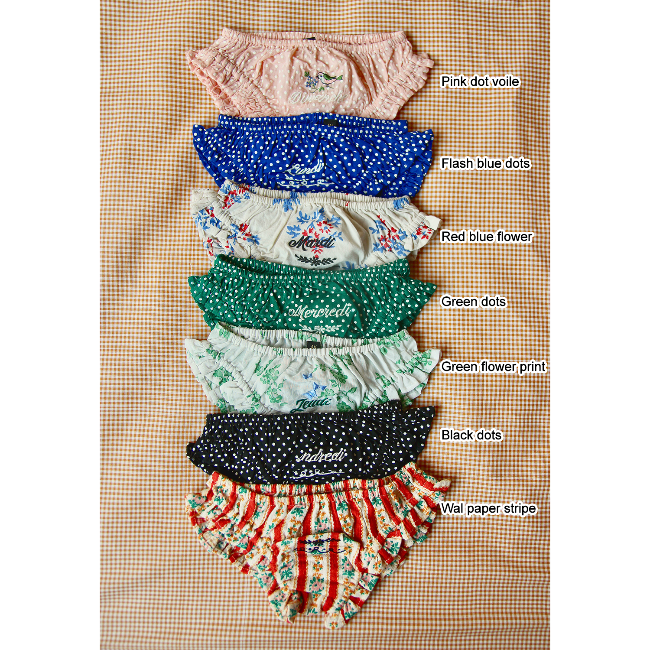 embroidered panties(Red blue flower)